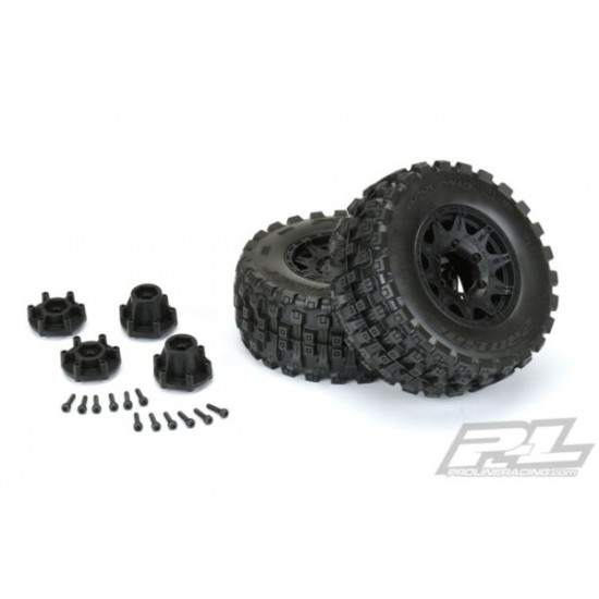 """Badlands MX28 HP 2.8"""" All Terrain BELTED Truck Tires Mounted on Raid Black 6x30 Removable Hex"""