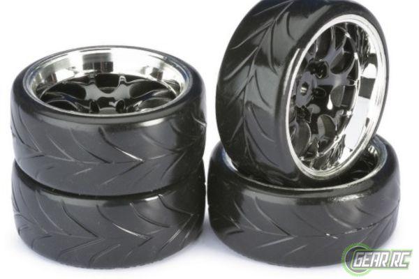 Wheel Set Drift LP Comb Profile A black chrome 1op10 4stuks