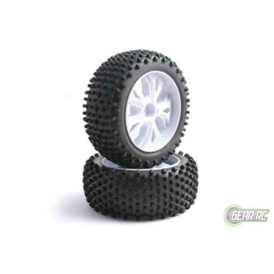 Fastrax 1/10 Fr Block Tyre On 10-Spoke White Wheels (Enrage