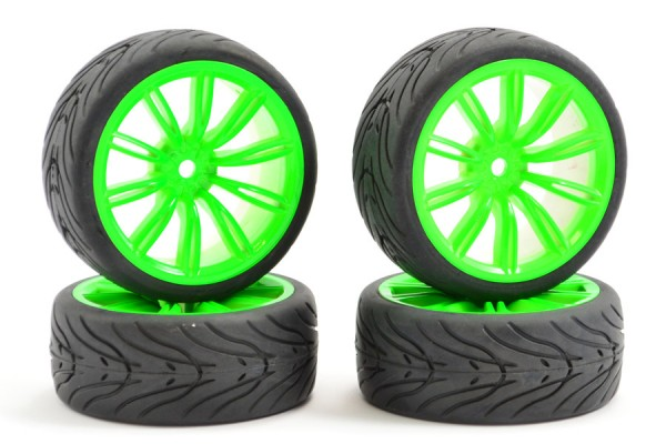 Fastrax 1/10th Street/Tread Tyre 20sp Neon Green Wheel Complete Set of 4