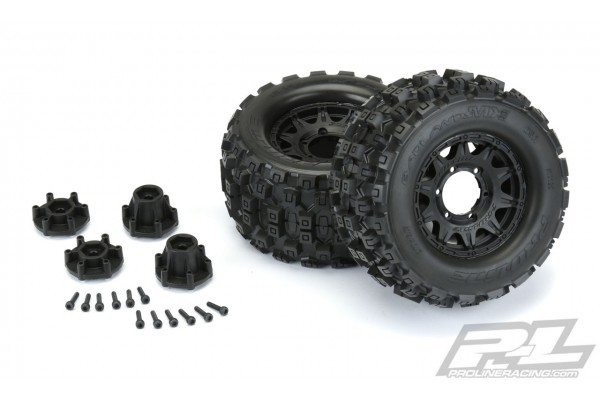 Badlands MX28 2.8 All Terrain Tires Mounted on Raid Black 6x30 Removable Hex Whe