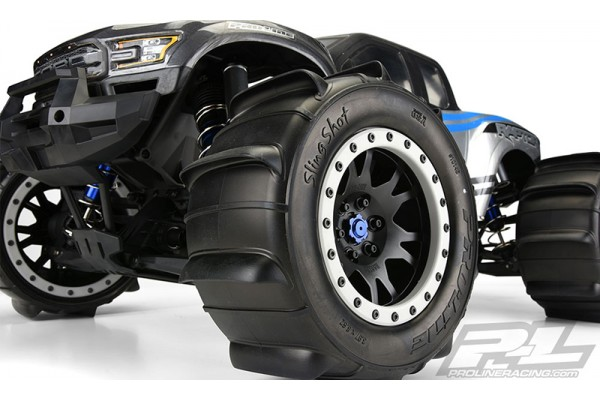 Sling Shot 4.3 Pro-Loc Sand Tires (2) Mounted on Impulse Pro-Loc Black Wheels with Stone Gray Rings for X-MAXX Front or Rear
