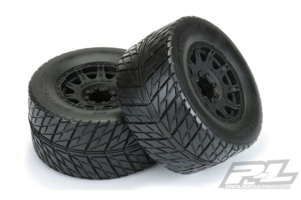 "Street Fighter HP 3.8"" Street BELTED Tires Mounted on Raid Black 8x32 Removable Hex Wheels (2) for 17mm MT Front or Rear"