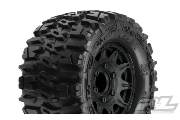 Trencher 2.8 All Terrain Tires Mounted on Raid Black 6x30 Removable Hex Wheels (