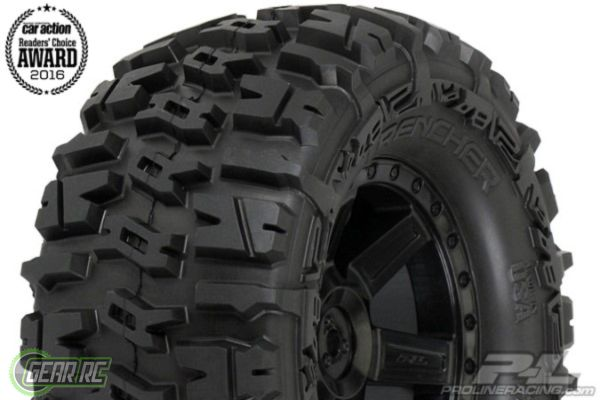 """Trencher 2.8"""" All Terrain Tires Mounted for Electric Stampede/Electric Rustler Rear, Mounted on Desperado Black Wheels"""
