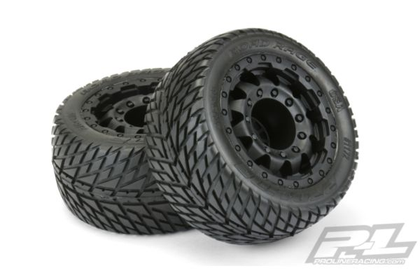 Road Rage 2.8 (Traxxas® Style Bead) Street Tires Mounted on F-11 Black 17mm Whee