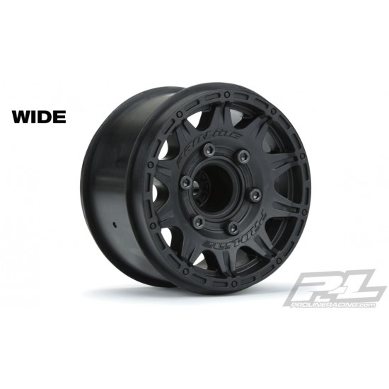 Raid 2.8 Black 6x30 Removable Hex Wheels (2) for Stampede/Rustler 2wd & 4wd Fron