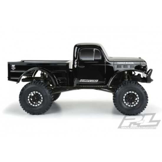 """1946 Dodge Power Wagon Tough-Color (Black) Body for 12.3"""" (313mm) Wheelbase Scale Crawlers"""