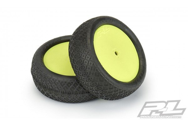 """Electron 2.2"""" 4WD MC (Clay) Off-Road Buggy Tires Mounted on Velocity Yellow Wheels for TLR 22X-4 & XB4 Buggy Front"""