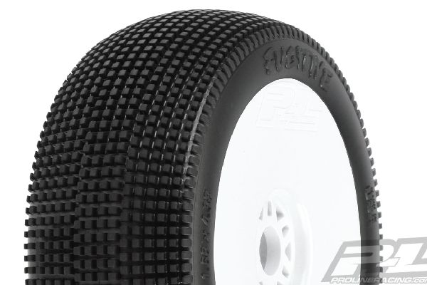 Fugitive S2 (Medium) Off-Road 1:8 Buggy Tires Mounted on White Wheels (2) for Fr