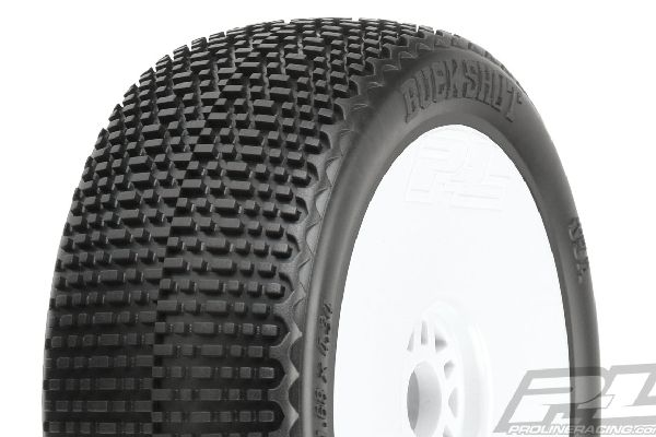Buck Shot S3 (Soft) Off-Road 1:8 Buggy Tires Mounted on White Wheels (2) for Fro
