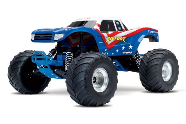 Traxxas Big Foot 1/10th Monstetruck RTR rood wit blauw met accu en 12v lader