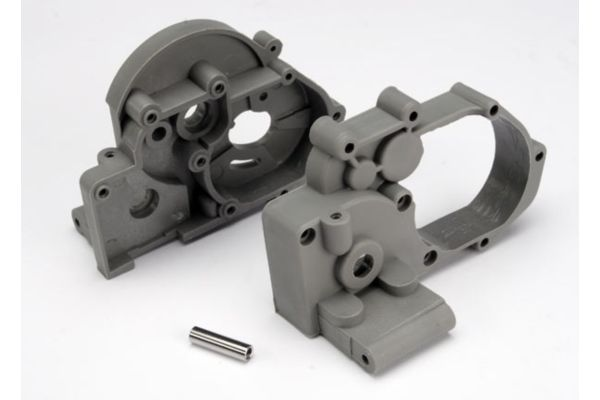 Gearbox halves (l&r) (grey) w/ idler gear shaft