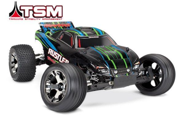 Traxxas Rustler VXL Brushless groen met TSM  zonder batterij en lader