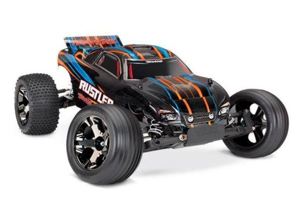 Traxxas Rustler VXL Brushless oranje met TSM  zonder batterij en lader