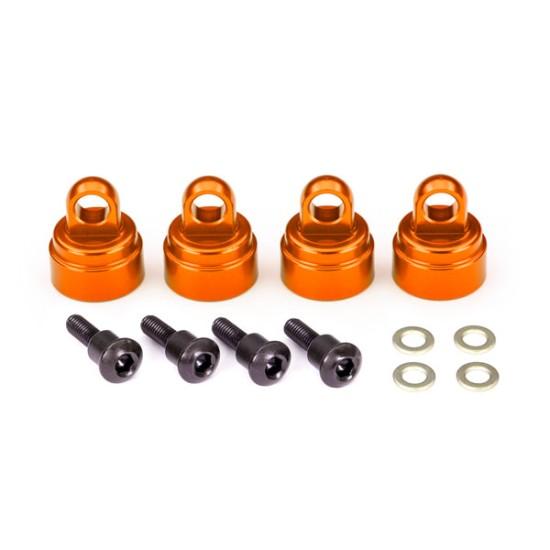 Shock caps, aluminum (orange-anodized) (4) (fits all Ultra Shocks)