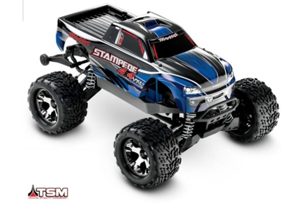 Traxxas Stampede 4x4 VXL blue 1/10 brushless zonder accu en charger