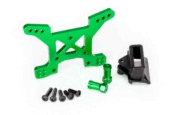 Shock tower, front, 7075-T6 aluminum (green-anodized) (1)/ body mount bracket (1)
