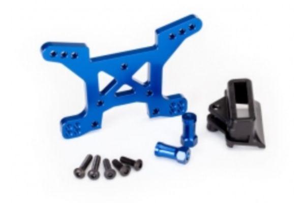 Shock tower, front, 7075-T6 aluminum (blue-anodized) (1)/ body mount bracket (1)