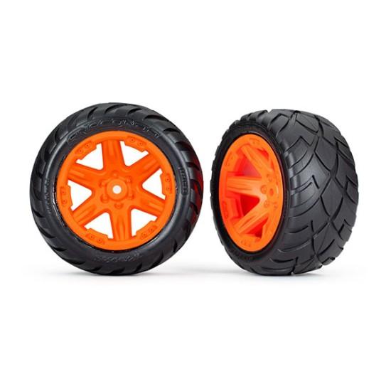 Tires & wheels, assembled, glued (2.8') (RXT orange wheels, Anaconda tires, foam inserts) (2WD electric rear) (2) (TSM rated)