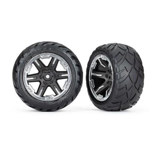Tires & wheels, assembled, glued (2.8') (RXT black & chrome wheels, Anaconda tires, foam inserts) (2WD electric rear) (2) (TSM rated)