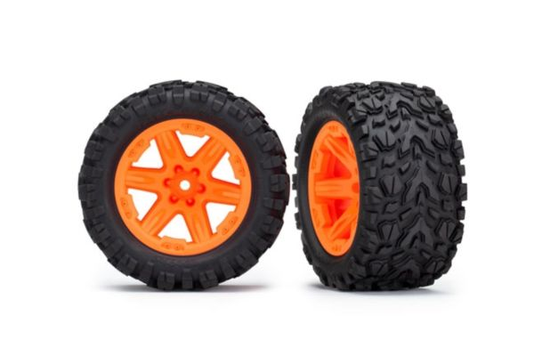 Tires wheels assembled glued 2.8 Rustler 4X4 orange wheels Talon Extreme 2pcs