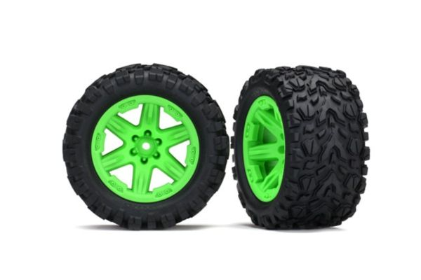 Tires wheels assembled glued 2.8 Rustler 4X4 green wheels Talon Extreme 2pcs