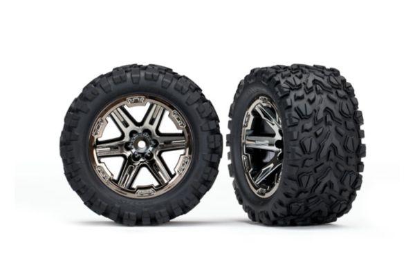 Tires wheels assembled glued 2.8 RXT black chrome wheels Talon Extreme tires foam inserts electric rear 2pcs TSM rated