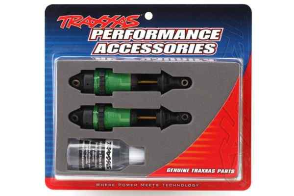 Shocks GTR long green-anodized PTFE-coated bodies with TiN shafts fully assembled without springs 2pcs