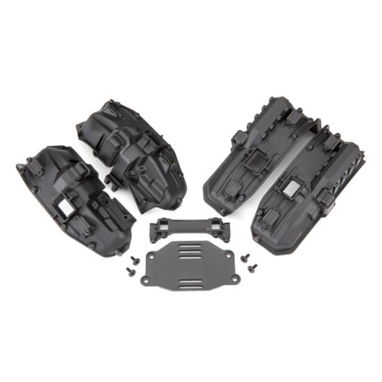 Fenders, inner (narrow), front & rear (for clipless body mounting) (2 each)/ rock light covers (8)/ battery plate/ body mount/ 3x8 flat-head screws (4)/ 2.5x6 CS (10)