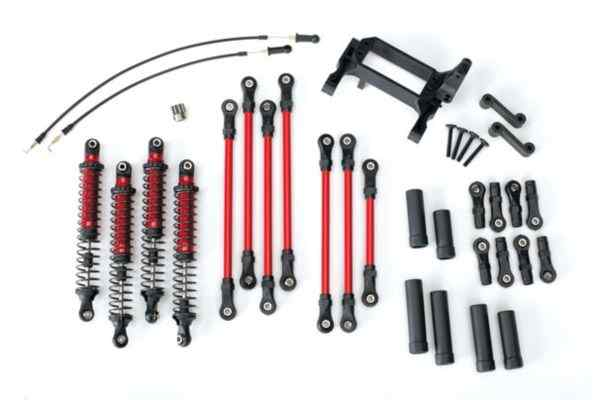 Long Arm Lift Kit, TRX-4, complete (includes red powder coated links, red-anodiz