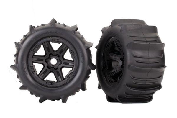 Tires & wheels, assembled, glued (black 3.8' wheels, paddle tires, foam inserts)