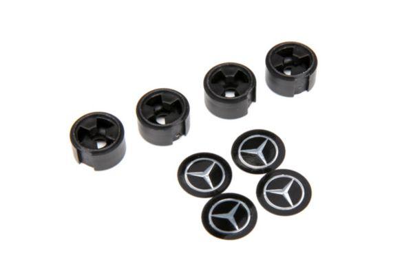 Center caps, Mercedes-Benz G 500 wheel (black) (4) (requires #8255A extended stu