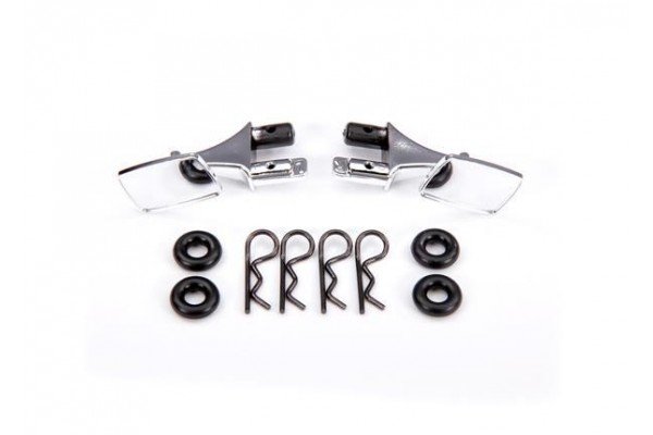 Mirrors, side, chrome (left & right)/ o-rings (4)/ body clips (4) (fits #9111 body)