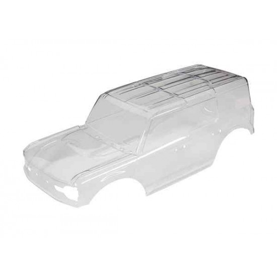 Body, Ford Bronco (2021) (clear, requires painting)/ decals/ window masks (includes grille, side mirrors, door handles, fender flares, windshield wipers, spare tire mount, clipless mounting, hardware) (requires #8080X inner fenders)