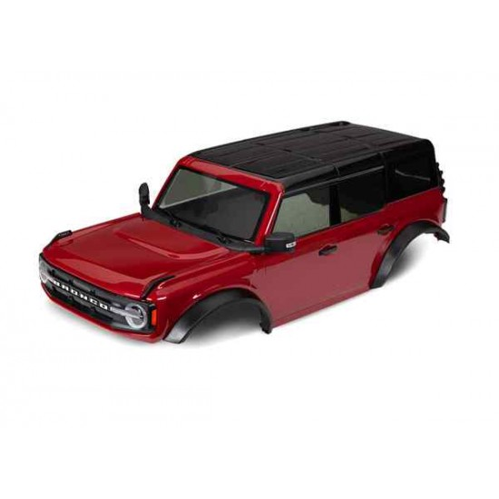 Body, Ford Bronco (2021), complete, red (painted) (includes grille, side mirrors, door handles, fender flares, windshield wipers, spare tire mount, & clipless mounting) (requires #8080X inner fenders)