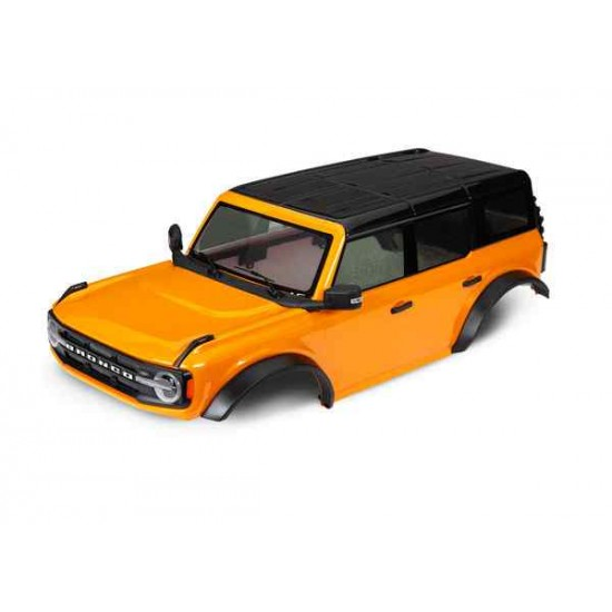 Body, Ford Bronco (2021), complete, orange (painted) (includes grille, side mirrors, door handles, fender flares, windshield wipers, spare tire mount, & clipless mounting) (requires #8080X inner fenders)
