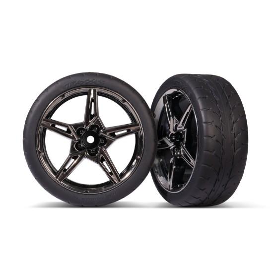 Tires and wheels, assembled, glued (split-spoke black chrome wheels, 1.9' Response tires) (front) (2)