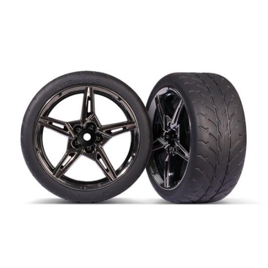 Tires and wheels, assembled, glued (split-spoke black chrome wheels, 1.9' Response tires) (extra wide, rear) (2)