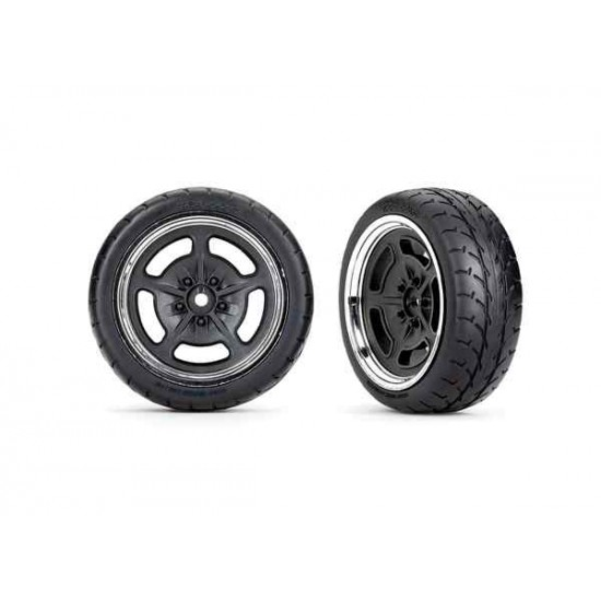 Tires and wheels, assembled, glued (black with chrome wheels, 1.9' Response tires) (front) (2)