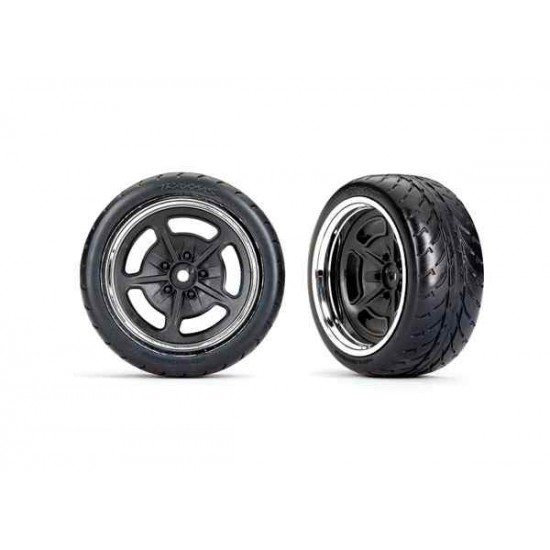 Tires and wheels, assembled, glued (black with chrome wheels, 1.9' Response tires) (extra wide, rear) (2)