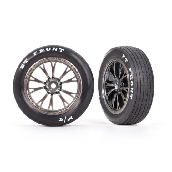 Tires & wheels, assembled, glued (Weld satin black chrome wheels, tires, foam inserts) (front) (2)