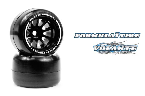 Volante F1 Rear Rubber Slick Tires Asphalt Revolution Soft Compound Preglued (White)