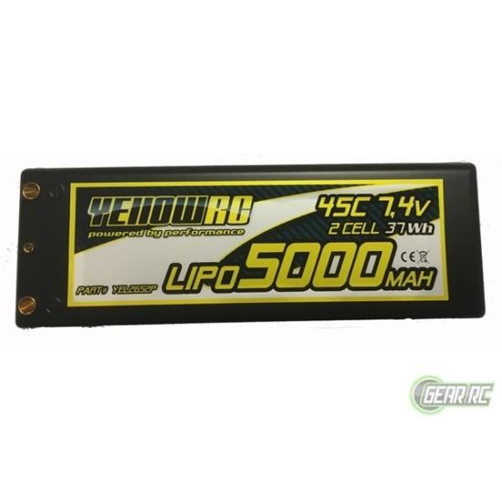 Yellow RC LiPo 5000mAh 7,4V 2S35C w/4mm bullet 3in1 plug