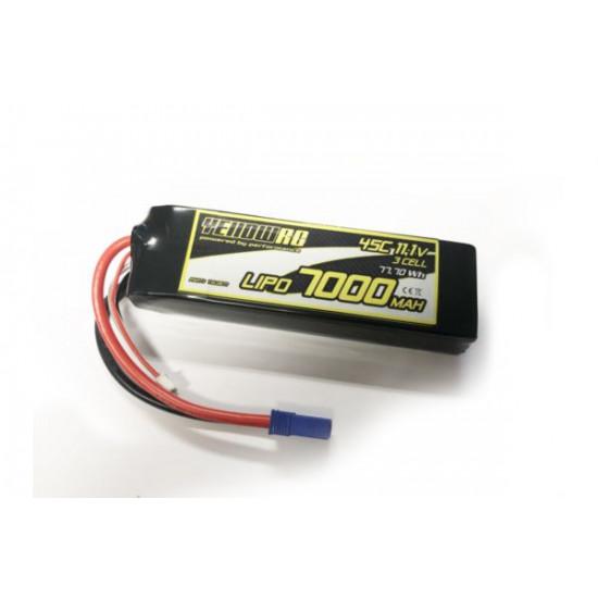 Yellow RC LiPo 7000mAh 11.1V 3S 45C/90C EC5 Plug fits most 1/8 cars